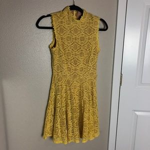 Mustard Yellow Lace Overlay Fit & Flare Dress Sz 3